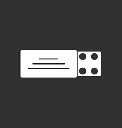 White icon on black background pill pack vector
