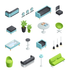Hall interior isometric icons vector