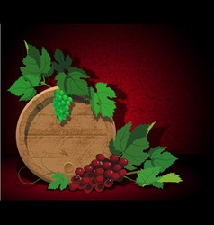 Keg and grapes vector