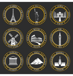 Set icons of travel and sightseeing vector