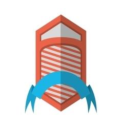 Shield emblem stripes blue ribbon shadow vector