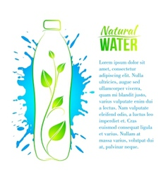 Bottle of water with a branch vector