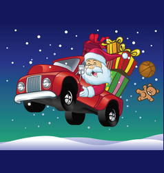 Santa claus drive a truck full of christmas gift vector