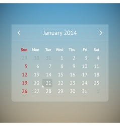 Calendar page for january 2014 vector