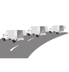 Three White Mini Van on The Road vector image