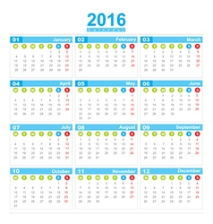 2016 Calendar week start monday vector image