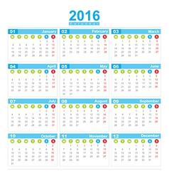 2016 Calendar week start monday vector image vector image
