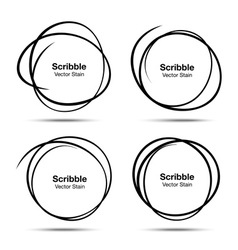 Set of hand drawn scribble circles design elements vector