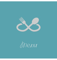 Fork spoon in shape of infinity sign menu card vector