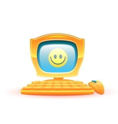 Yellow computer with smile vector