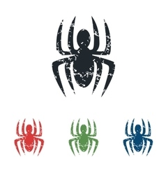 Spider grunge icon set vector