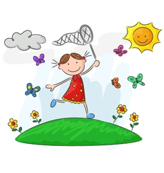 Happy little girl running on flower field vector