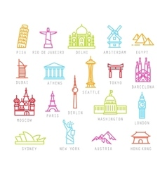 City flat color icons vector
