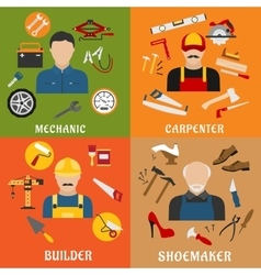 Builder carpenter mechanic and shoemaker vector
