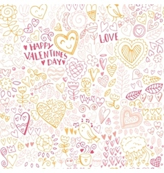 Valentines day seamless sketch pattern vector