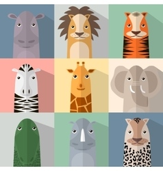 Flat animal icon set with shadow african animals vector