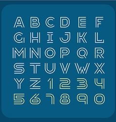 Two lines style retro font alphabet with numbers vector