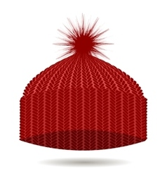 Red knitted cap winter hat vector