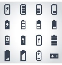 black battery icon set vector image