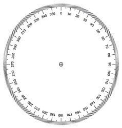 Protractor actual size graduation vector