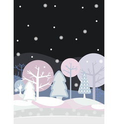 Night forest winter vector