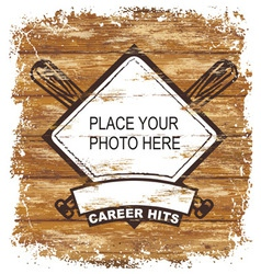 baseball wood board vector image vector image