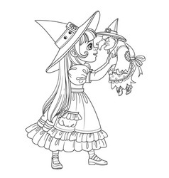 Cute girl in witch costume holding a doll old vector