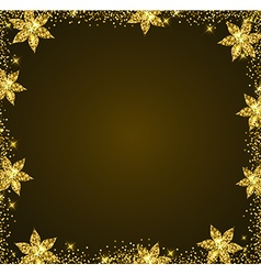 Decorative golden glitter holiday frame vector