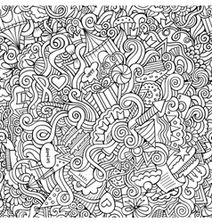 Doodles hand drawn holiday seamless pattern vector