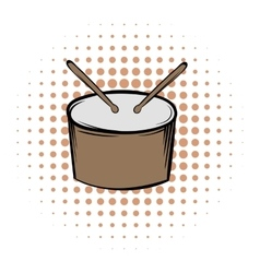 Drum and drumsticks comics icon vector