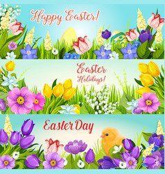 easter banners paschal egg flowers set vector image vector image