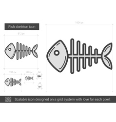 Fish skeleton line icon vector