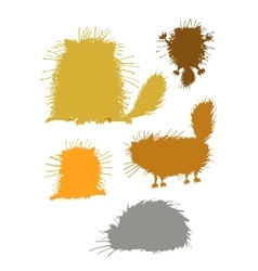 Fluffy cats silhouettes sketch for your design vector