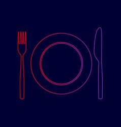 Fork knife and plate sign line icon with vector