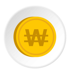 Gold coin with won sign icon circle vector