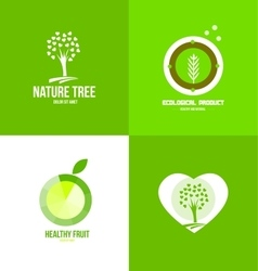 Nature fruit ecological logo vector image