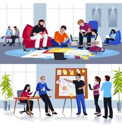 People working in team flat compositions vector