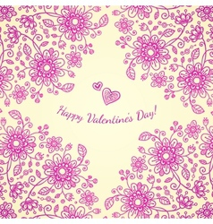 Pint valentines day doodle flowers background vector image