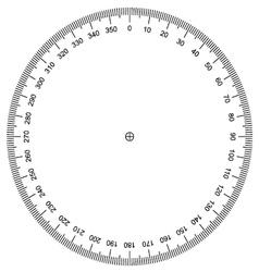 Protractor actual size graduation vector