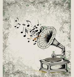 retro gramophone vector image vector image