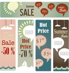 retro tag set for summer sale vector image vector image