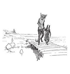 Reynard the fox walking with grimbard vintage vector