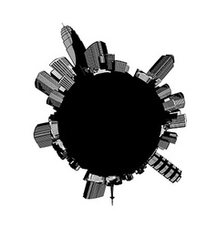 Round black and white cityscape with skyscrapers vector image