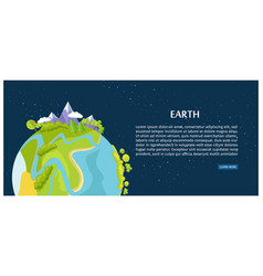 save earth poster view on planet from outer space vector image vector image