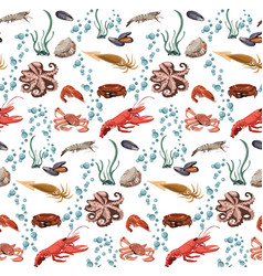 sea and ocean animals seamless pattern vector image vector image