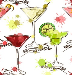 Seamless pattern of vivid cocktails vector