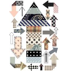 Set of patchwork arrows vector