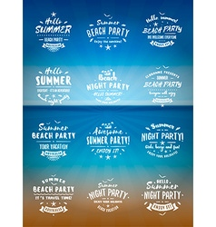 Set of summer holidays design elements beach party vector