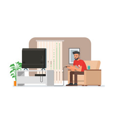 smiling man playing video game console at home vector image vector image