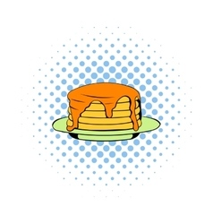 Stack of pancakes icon comics style vector